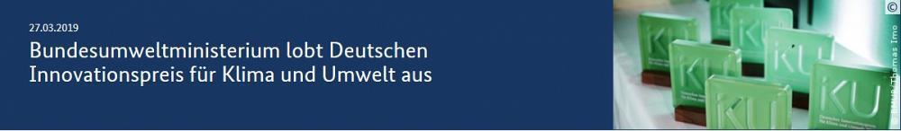 Bundesumweltministerium lobt Deutschen Innovationspreis für Klima und Umwelt aus